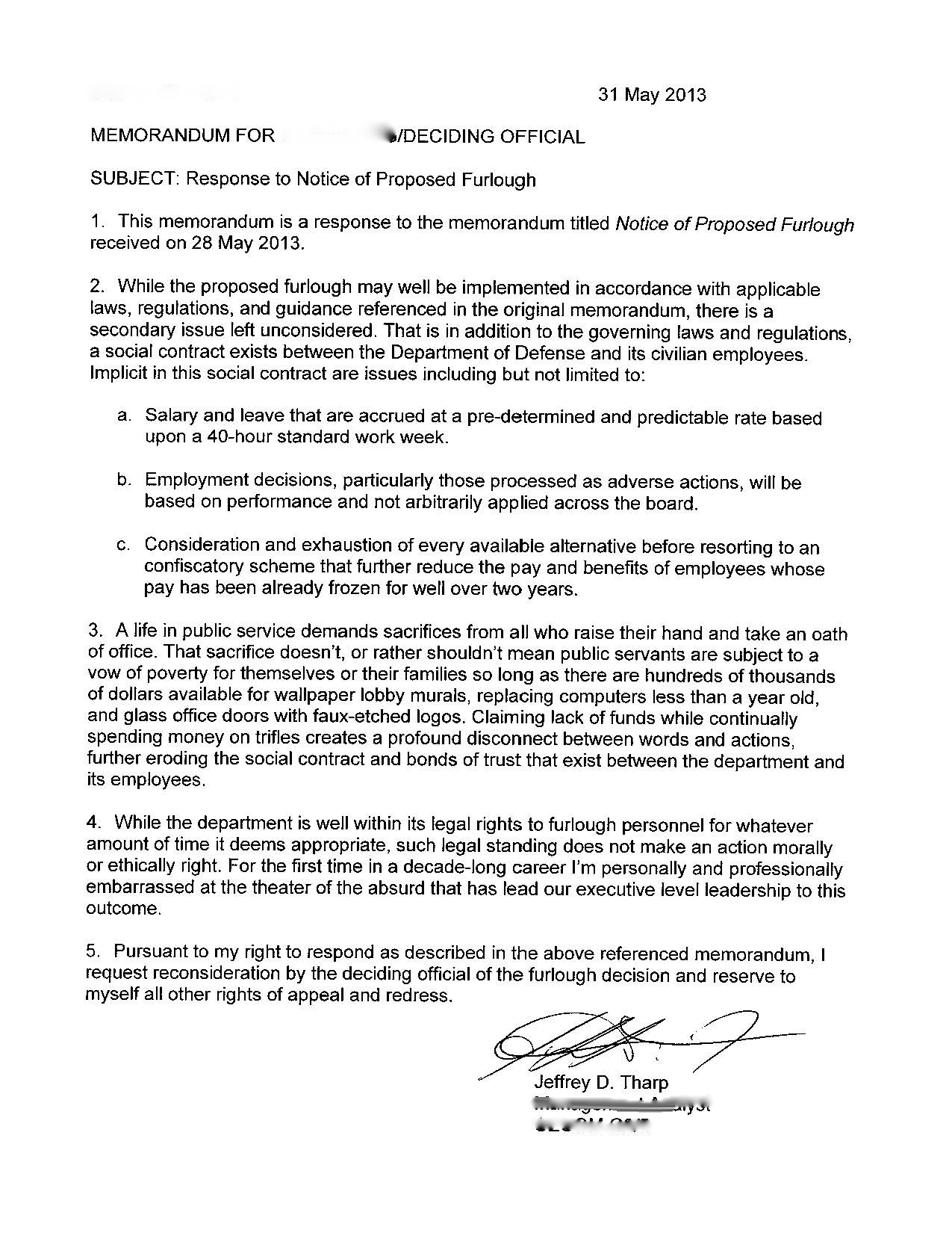 Response to Furlough Memo